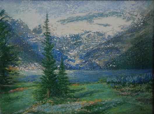 Order Painting Copy : Early Snow on Lake Louise, (painting), 1960 by Mary Agnes Yerkes (1886-1989, United States) | ArtsDot.com