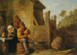 David The Younger Teniers - Exterior of an Inn Peasants Drinking