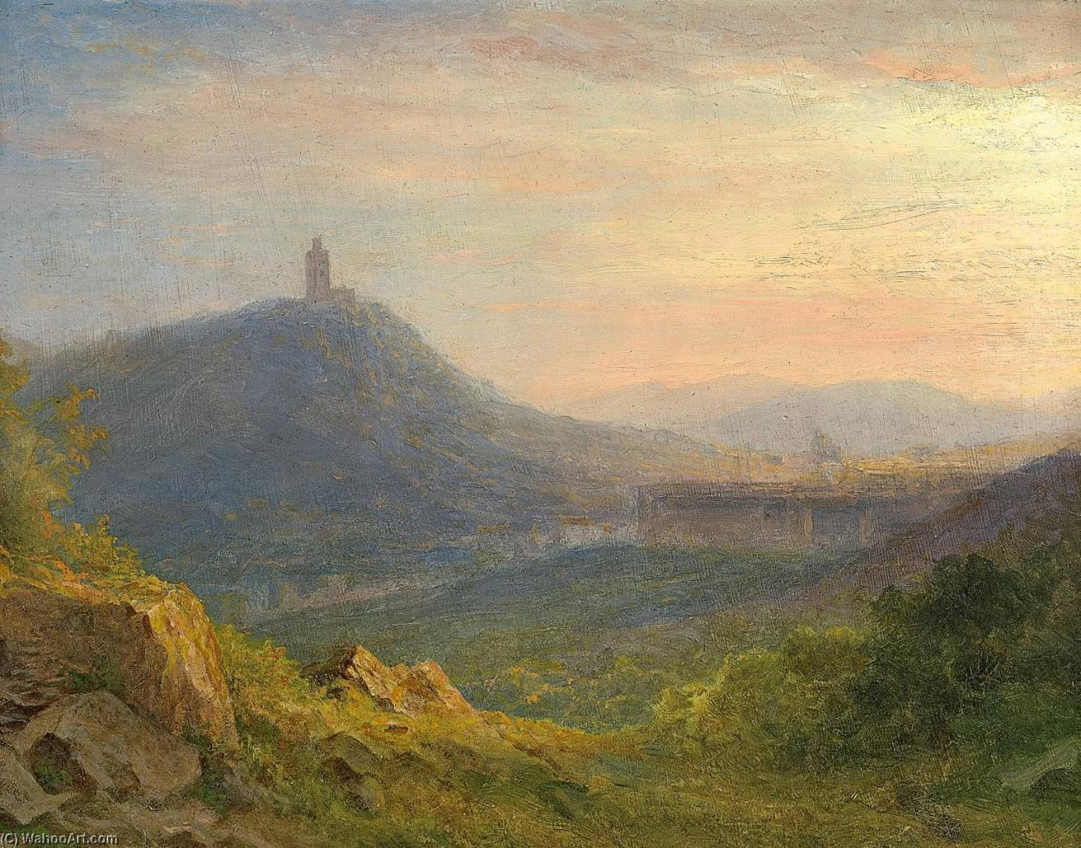 Hilly Landscape with a Castle Ruin by Carl Morgenstern | Oil Painting | ArtsDot.com