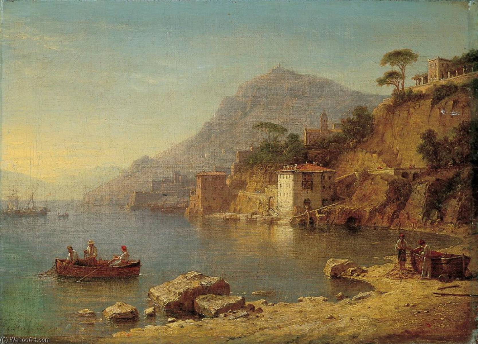Harbour on the Ligurian Coast by Carl Morgenstern | Museum Quality Reproductions | ArtsDot.com