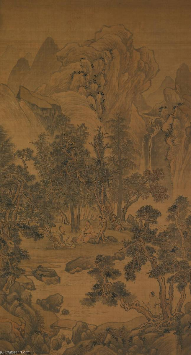Order Oil Painting : SCHOLARS` DISCUSSION UNDER PINE TREES by Hua Yan (1682-1756) | ArtsDot.com