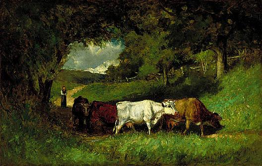 Driving Home the Cows, (painting), 1881 by Edward Mitchell Bannister (1828-1901, Canada) | Oil Painting | ArtsDot.com