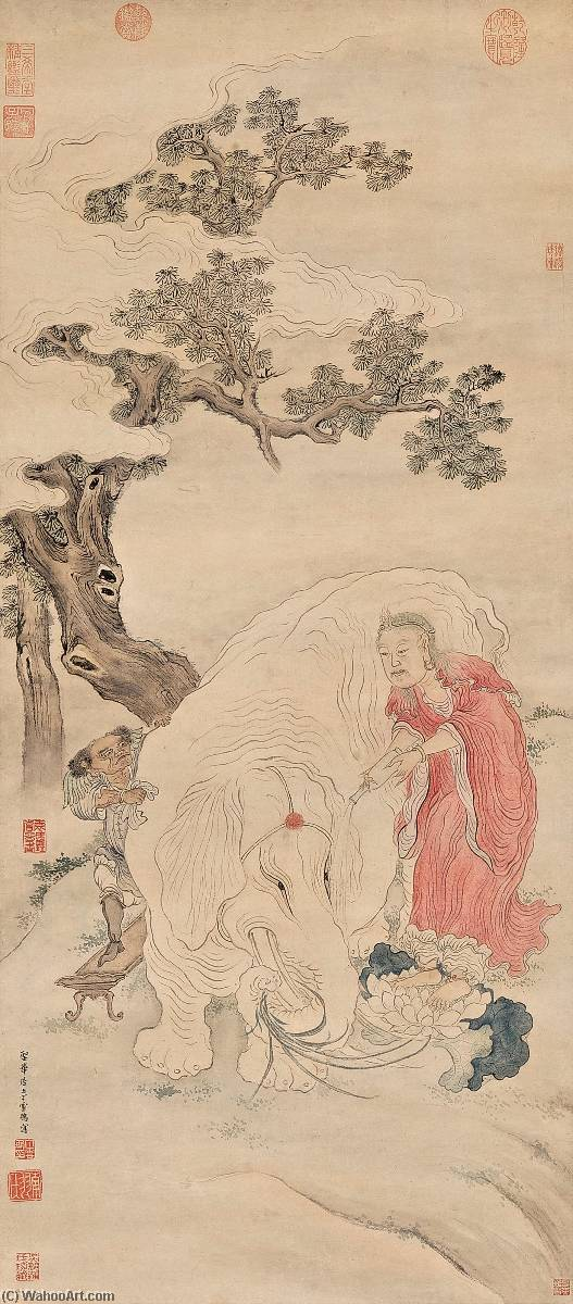 CLEANSING THE ELEPHANT by Ding Yunpeng (1547-1628) | Museum Quality Copies Ding Yunpeng | ArtsDot.com