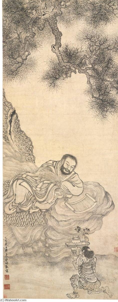 READING SUTRA UNDER THE PINE by Ding Yunpeng (1547-1628) | Museum Quality Copies Ding Yunpeng | ArtsDot.com