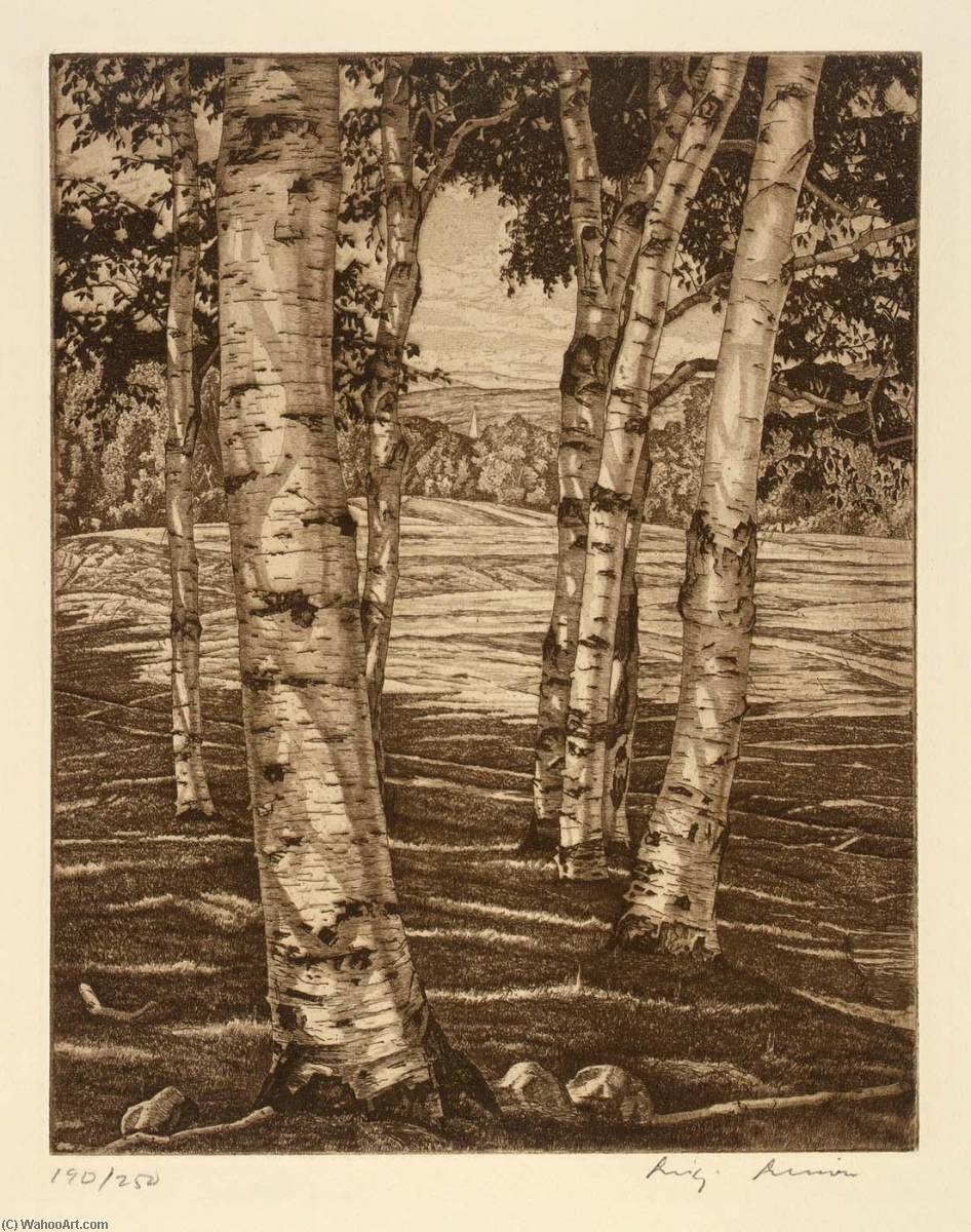 Birches and Beyond, 1974 by Luigi Lucioni | Museum Art Reproductions | ArtsDot.com