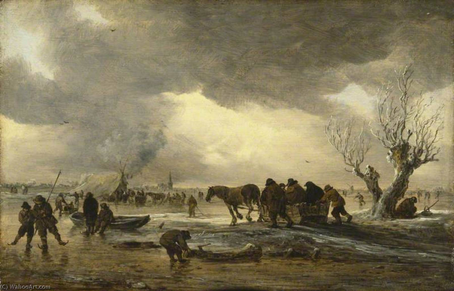 Buy Museum Art Reproductions | Winter Scene with a Sledge in the Foreground and Figures Gathering Round a Tent on the Ice, 1653 by Jan Van Goyen (1596-1656, Netherlands) | ArtsDot.com