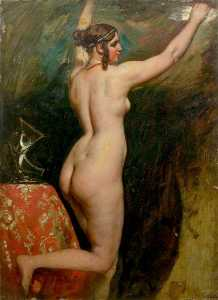 William Etty - Standing Female Nude with Helmet