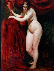 William Etty - Nude Woman, Holding Red Drapery