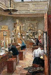 Alfred James Munnings - The Painting Room, Norwic..