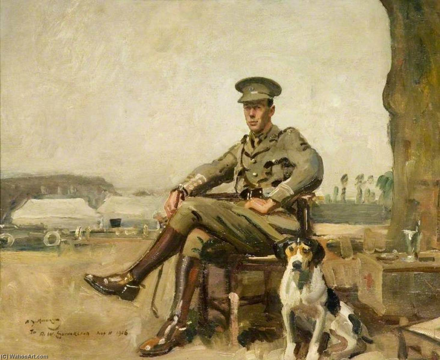 R. W. Sutherland, Cavalry Officer, 1916 by Alfred James Munnings (1878-1959, United Kingdom) |  | ArtsDot.com