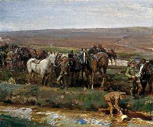 Alfred James Munnings - Watering Horses, Canadian..