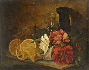 George Lance - Still Life with Fruit and Flowers
