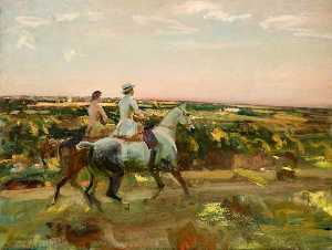Alfred James Munnings - Two Lady Riders under an ..