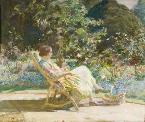 Alfred James Munnings - Violet, My Wife, in the G..