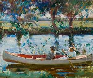Alfred James Munnings - The White Canoe on the St..