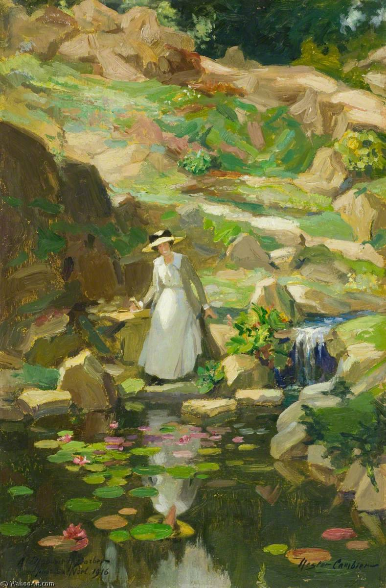 Lady Barber in Her Rock Garden, 1916 by Nestor Cambier (1879-1957) | Painting Copy | ArtsDot.com