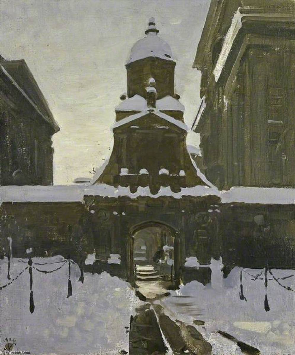 The Gate of Honour under Snow, 1924 by William Newzam Prior Nicholson (1872-1949, Nottinghamshire) | Painting Copy | ArtsDot.com