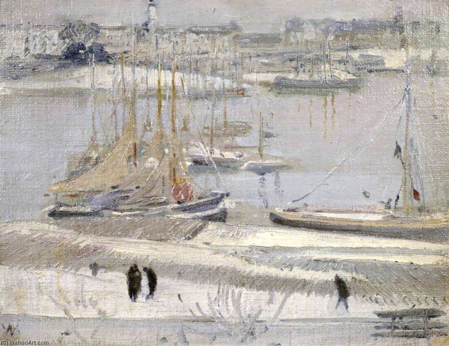 Harbour in Snow, La Rochelle, 1938 by William Newzam Prior Nicholson (1872-1949, Nottinghamshire) | Museum Art Reproductions | ArtsDot.com