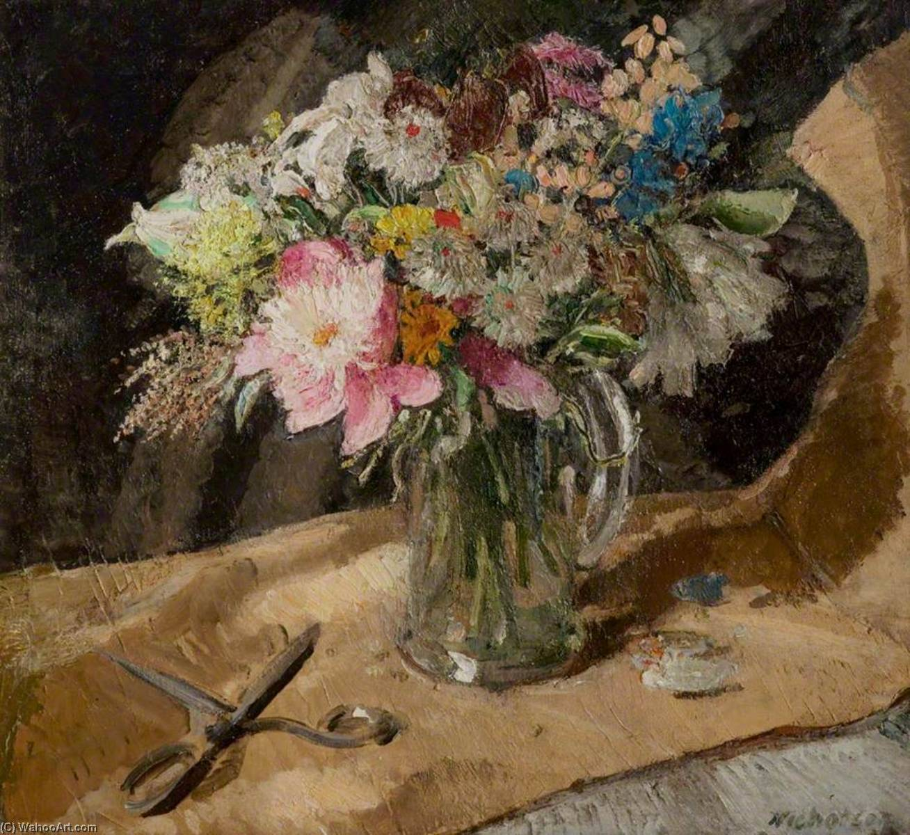 Flower Piece, 1949 by William Newzam Prior Nicholson (1872-1949, Nottinghamshire) | Painting Copy | ArtsDot.com