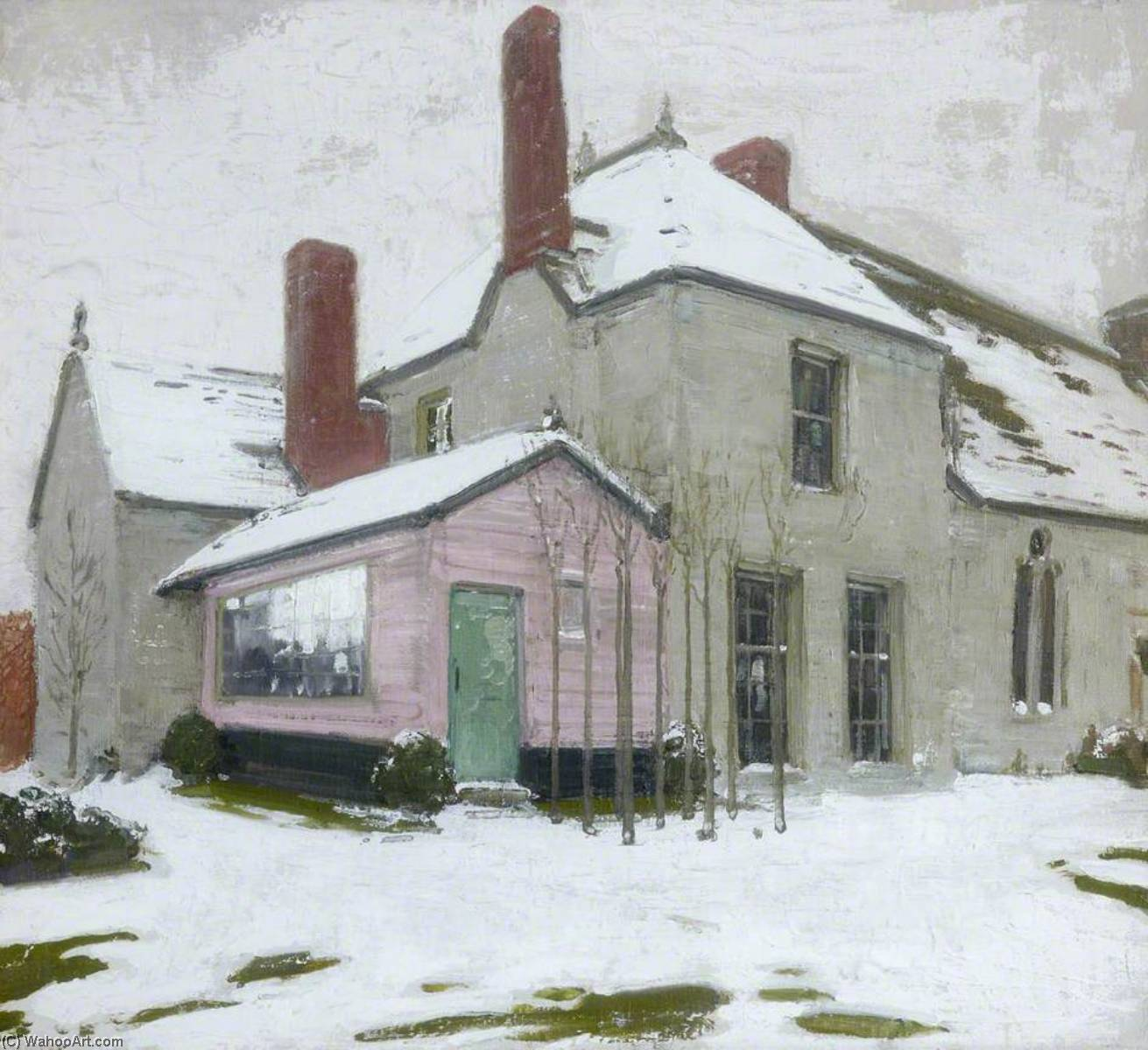 Sutton Veny in Snow, 1924 by William Newzam Prior Nicholson (1872-1949, Nottinghamshire) | Museum Art Reproductions | ArtsDot.com