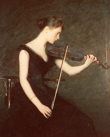 The Violinist, (painting), 1890 by Edmund Charles Tarbell (1862-1938, United States) | Museum Quality Reproductions | ArtsDot.com
