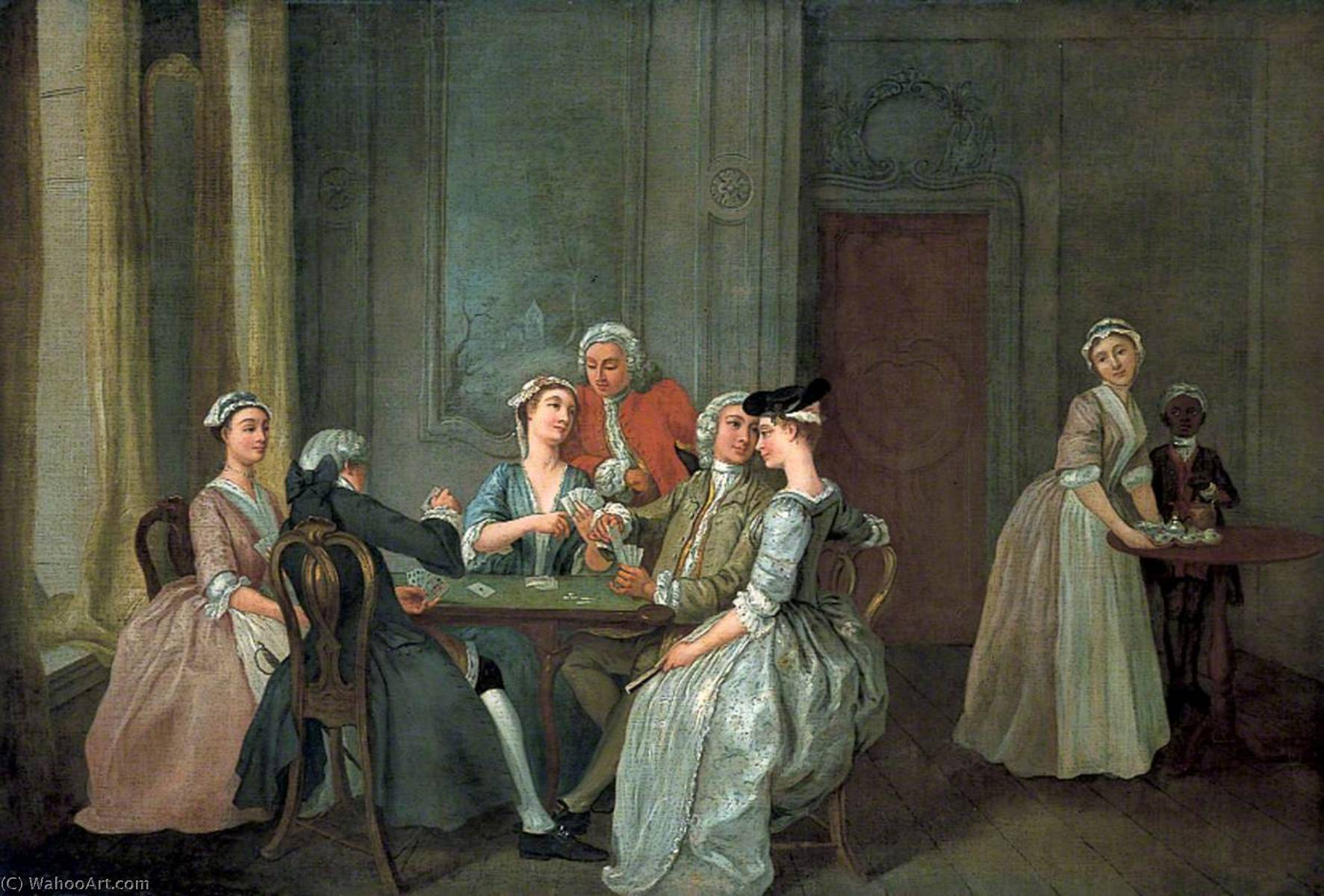 Playing at Quadrille, 1750 by Francis Hayman (1708-1776, United Kingdom) | Oil Painting | ArtsDot.com