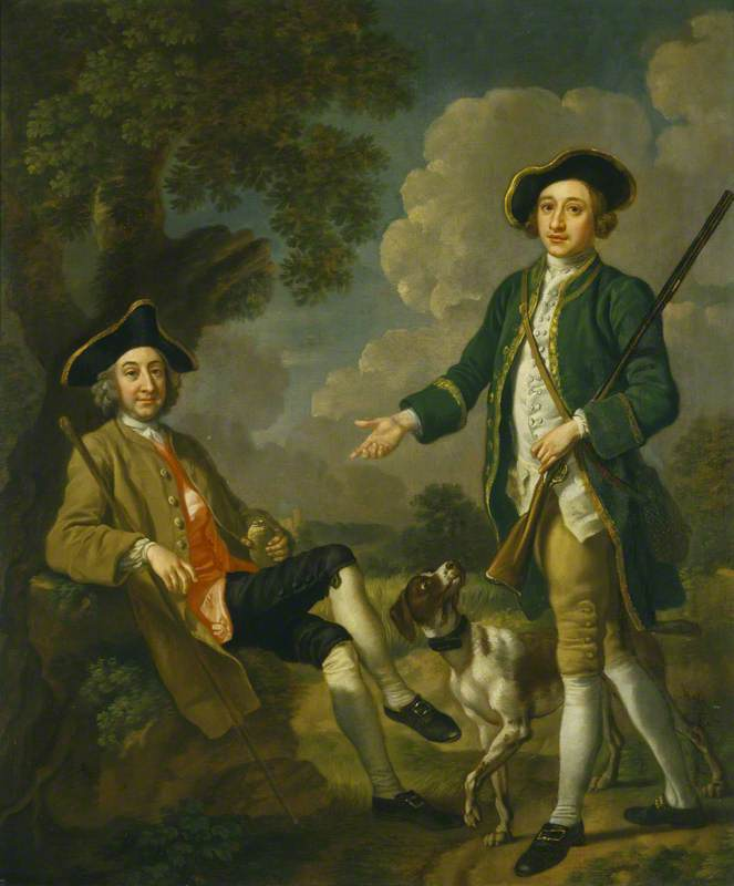 Two East Anglian Gentlemen with a Pointer by Francis Hayman (1708-1776, United Kingdom) | Museum Quality Reproductions | ArtsDot.com