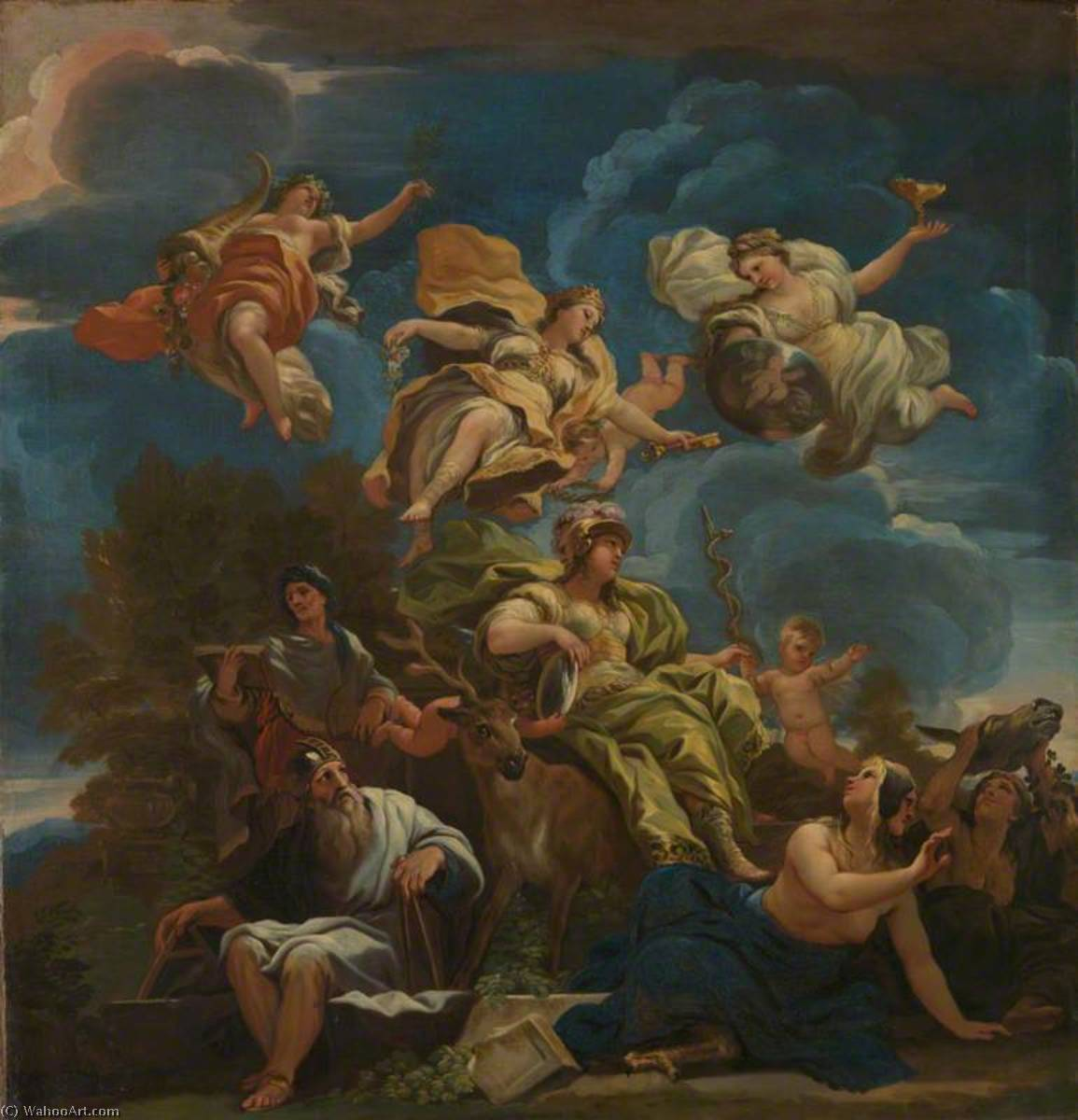 Allegory of Prudence, 1680 by Luca Giordano (1634-1705, Italy) | Museum Art Reproductions | ArtsDot.com