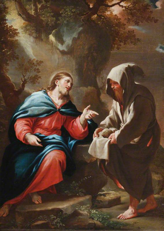 The Devil Tempting Christ to Turn Stones into Bread, 1685 by Luca Giordano (1634-1705, Italy) | Oil Painting | ArtsDot.com