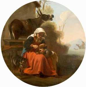 Karel Dujardin - A Woman and a Child with Animals