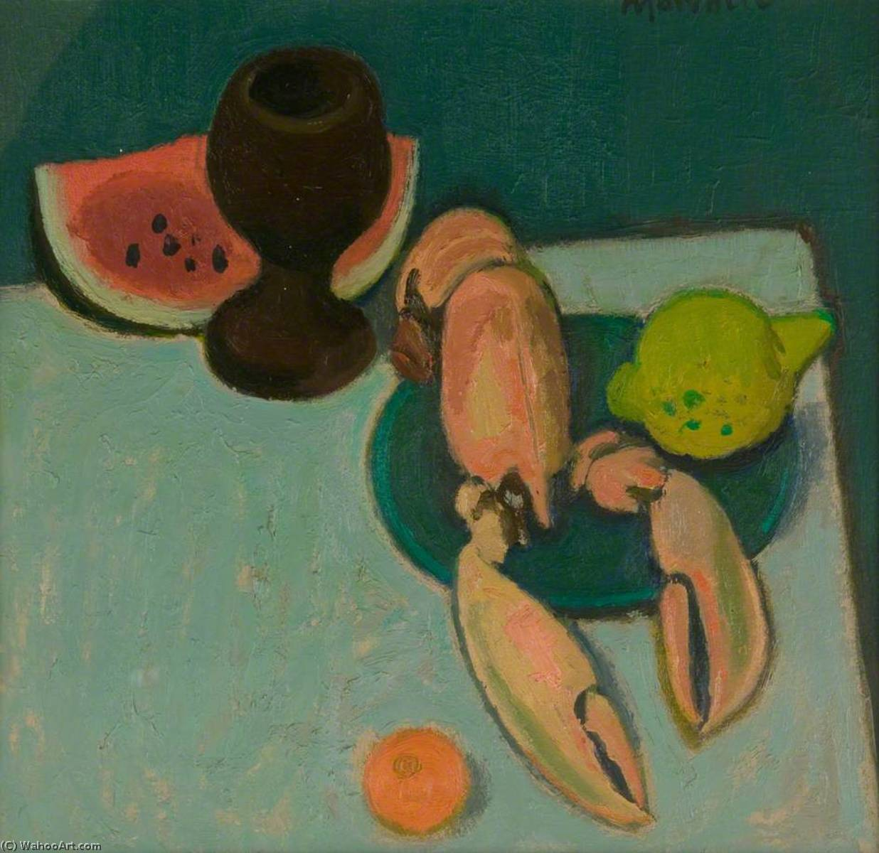 Still Life with Lobster and Watermelon, 1992 by Alberto Morrocco (1917-1998) | Museum Art Reproductions | ArtsDot.com