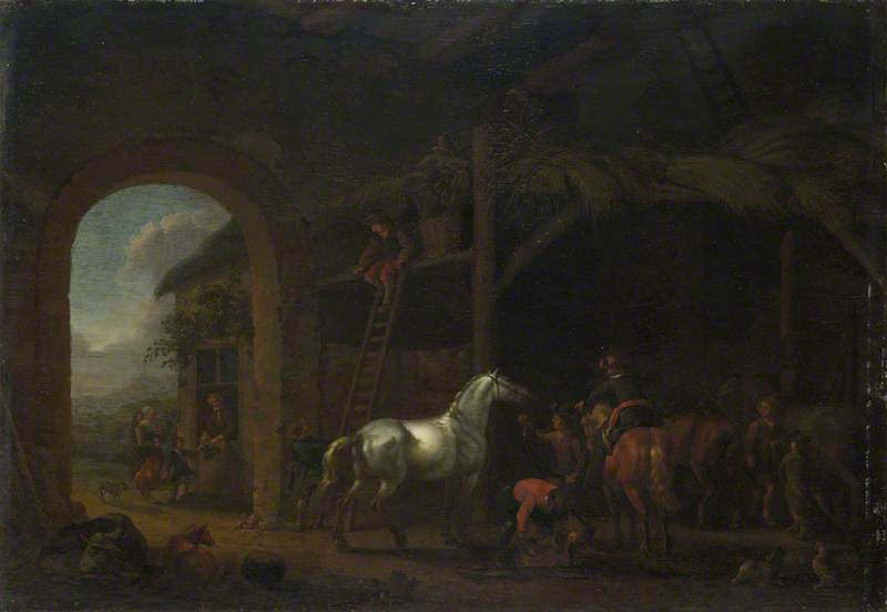 The Interior of a Stable, 1690 by Abraham Pietersz Van Calraet (1642-1722) | Museum Quality Copies Abraham Pietersz Van Calraet | ArtsDot.com
