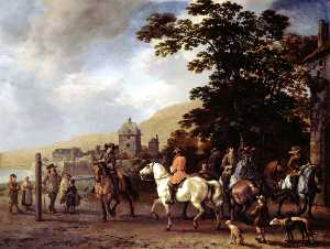 Abraham Pietersz Van Calraet - A Riding School in the Open Air