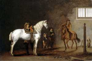 Abraham Pietersz Van Calraet - White Horse in a Riding School