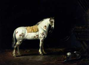 Abraham Pietersz Van Calraet - A Dappled Stallion with a Dog in a Stable