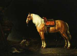 Abraham Pietersz Van Calraet - A Saddled Horse with a Goat in a Stable
