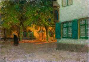 Henri Eugène Augustin Le Sidaner - The House with the Green Shutters (Beguinage. Maisons à contre jour, Bruges)
