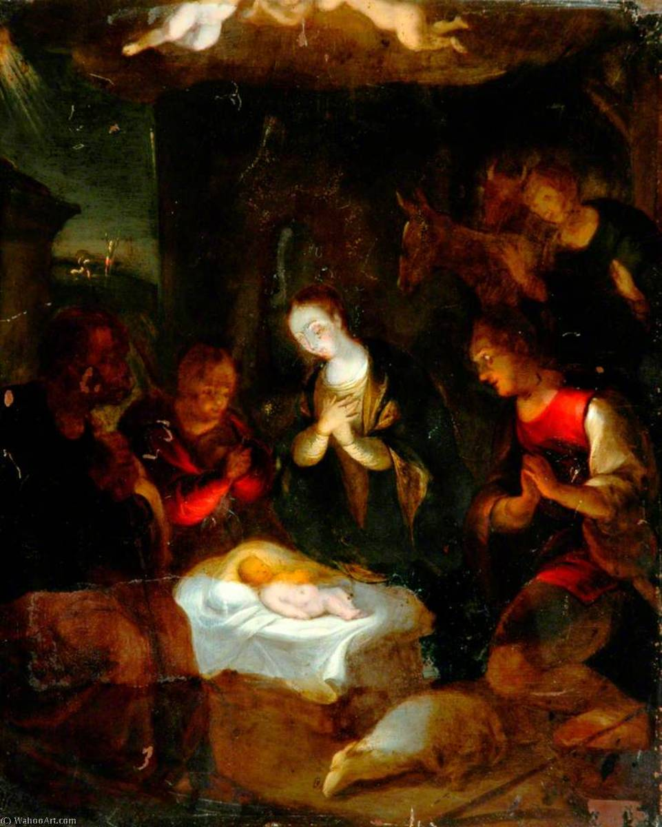 Order Painting Copy : The Adoration of the Shepherds, 1838 by Patrick Branwell Brontë (1817-1848) | ArtsDot.com