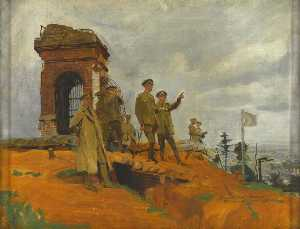 Frank O Salisbury - George V (1865–1936), at Mount Kemmel, South of Ypres, during His Tour of the Western Front, 1917