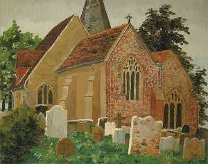 Cedric Lockwood Morris - Herstmonceux Church, Hail..