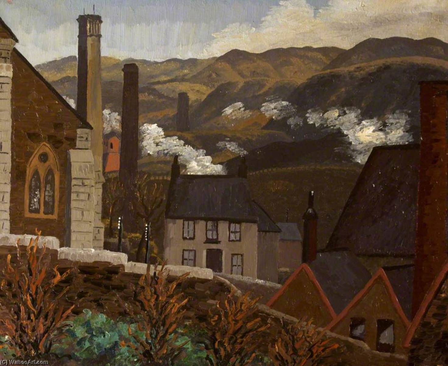 Dowlais from the Cinder Tips, Caeharris, 1935 by Cedric Lockwood Morris (1889-1982, United Kingdom) | Art Reproduction | ArtsDot.com