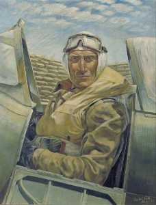 Leslie Cole - Air Vice Marshal Sir Keith Park (1892–1975), KBE, CB, MC, DFC, Air Officer Commanding Malta in His Plane