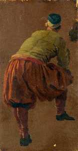 Luca Carlevaris - A Man, Perhaps a Gondolier, Seen from Behind