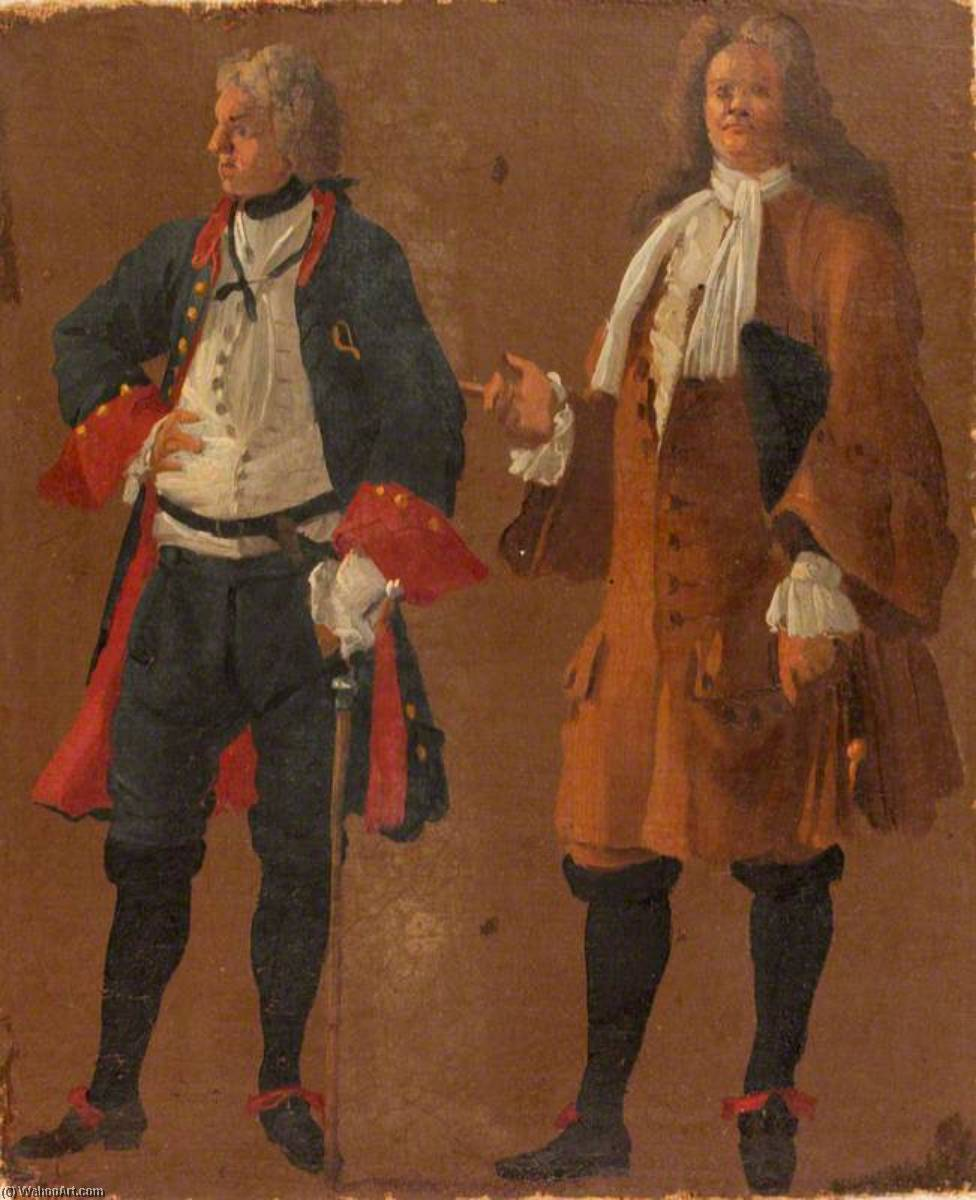 Studies of Two Gentlemen, 1710 by Luca Carlevaris (1663-1730, Italy) | Museum Quality Reproductions | ArtsDot.com