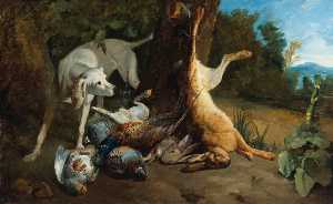 Anne Vallayer Coster - A Hound with Dead Game in a Landscape