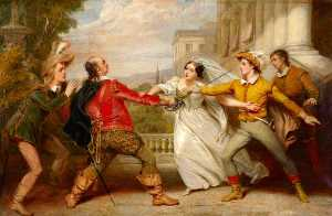 George Clint - The Duel between Sir Toby and Sebastian (from William Shakespeare-s -Twelfth Night-, Act IV, Scene ii)