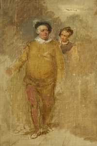 George Clint - William Downton as Falstaff and George Smith as Bardolph in -Henry IV-, Part I