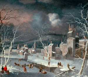 Jan Griffier - Dutch Snow Scene with Skaters