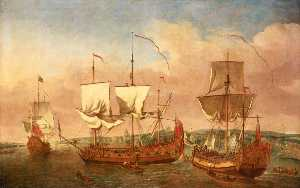 Jan Griffier - The -Peregrine- and Other Royal Yachts off Greenwich, c.1710