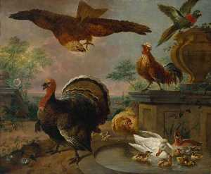 Jan Griffier - A Turkey and other Fowl in a Park